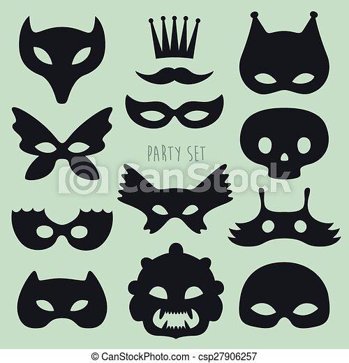 Set of Carnival Mask  Vector Illustration - csp27906257
