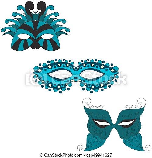 set of carnival masks. vector illustration. Drawing by hand. - csp49941627