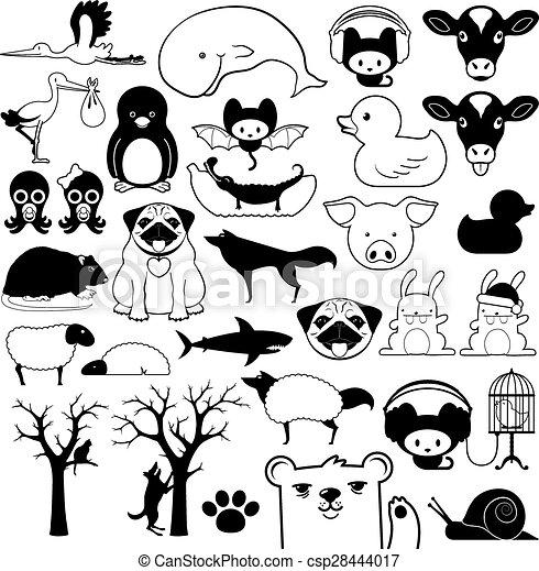 Set of cartoon animal icons - csp28444017