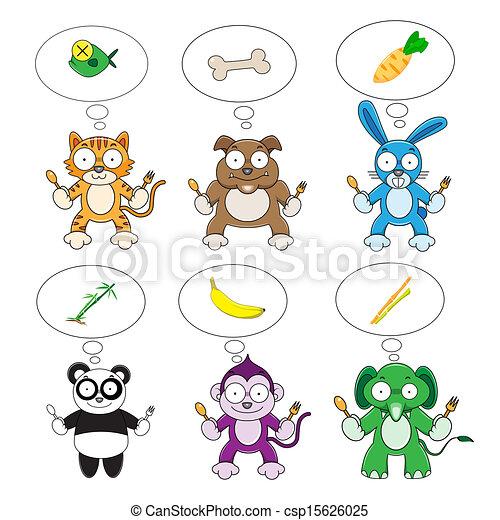 Set of cartoon animals to eat food vector illustration ...