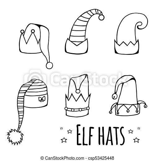 eb67803747c Set of cartoon black and white elf hats. vector element for your ...