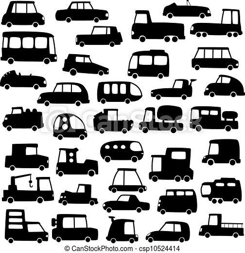 set of cartoon cars silhouettes - csp10524414