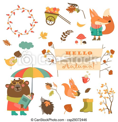 Set of cartoon characters and autumn elements - csp29372446