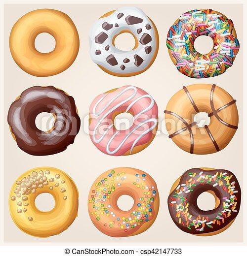Set Of Cartoon Donuts Vector Illustration