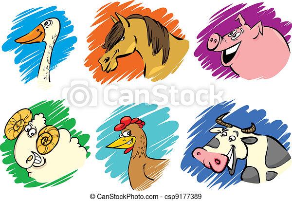 Set of cartoon farm animals - csp9177389