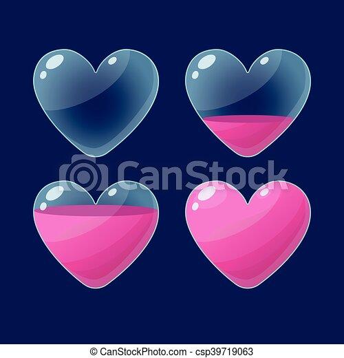 Set Of Cartoon Glossy Hearts