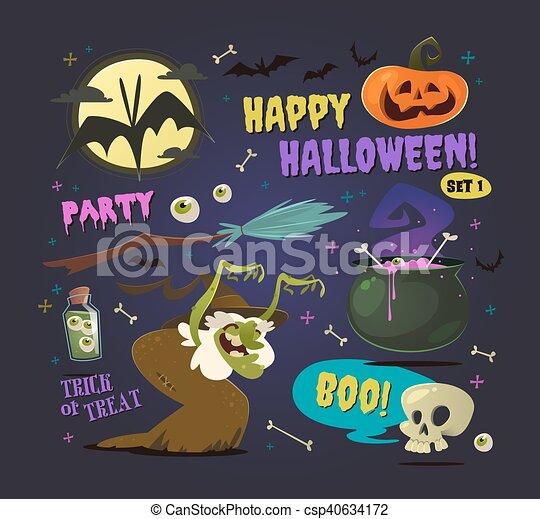 Set Of Cartoon Halloween Elements Vector