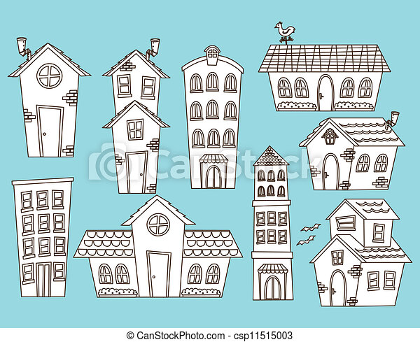 set of cartoon house and building - csp11515003