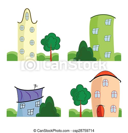 Set of cartoon houses - csp28759714