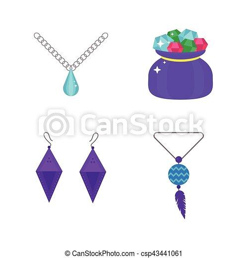 set of cartoon jewelry accessories vector set of vector jewelry