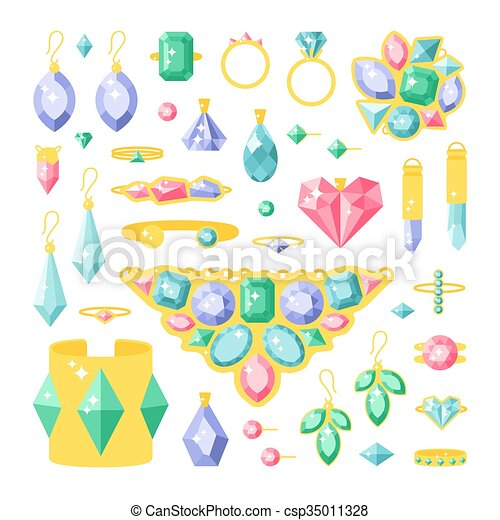set of cartoon jewelry accessories items gold and gemstones