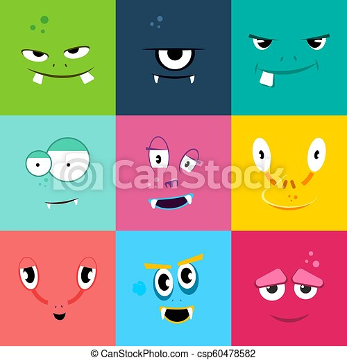 Set Of Cartoon Monsters Faces With Different Emotions Colored Flat Monster Face Characters Vector Illustration