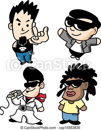 set of cartoon singer - csp15583835