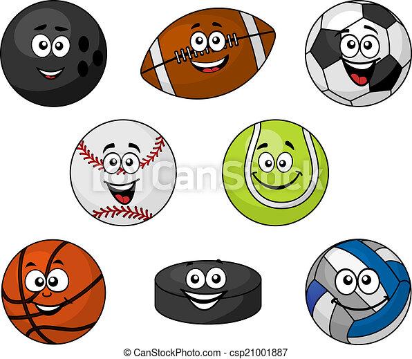 Set of cartoon sports equipment - csp21001887