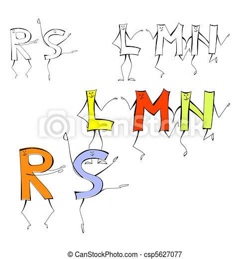 Set of cartoon style letters l m n r s vectors illustration set of cartoon style letters l m n r s csp5627077 altavistaventures Images