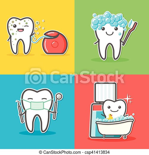 Set of cartoon teeth care and hygiene concepts. - csp41413834