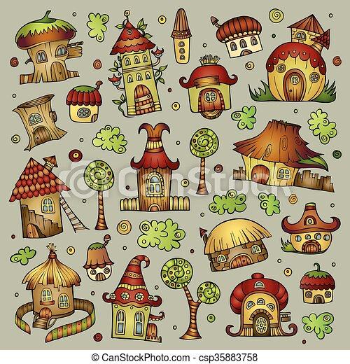 Set of cartoon vector houses - csp35883758