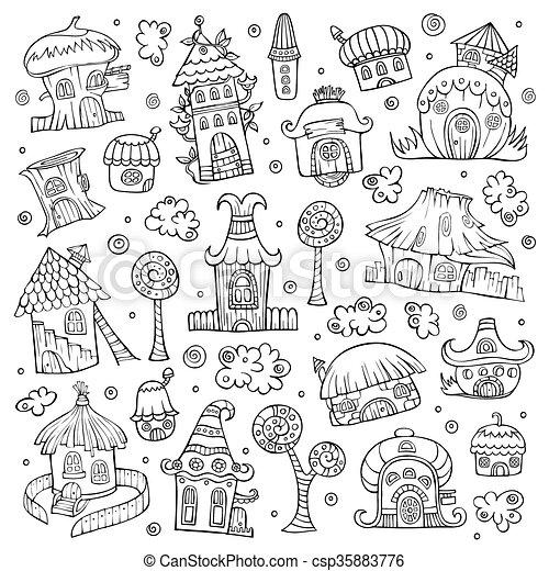 Set of cartoon vector houses - csp35883776