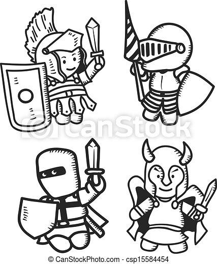 set of cartoon warrior - csp15584454