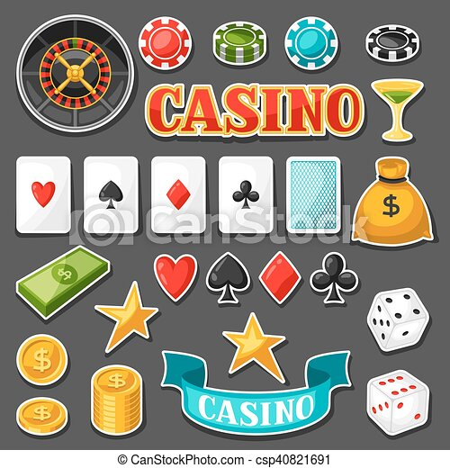 Set of casino gambling game sticker objects and icons - csp40821691
