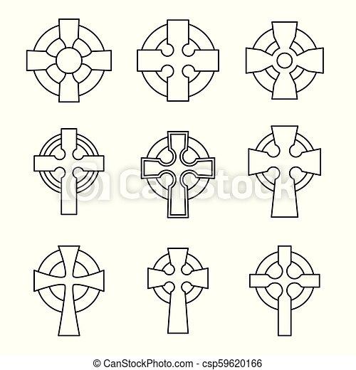 Set Of Celtic Crosses For Religious Design Irish Scottish Celtic Cross Sign Collection