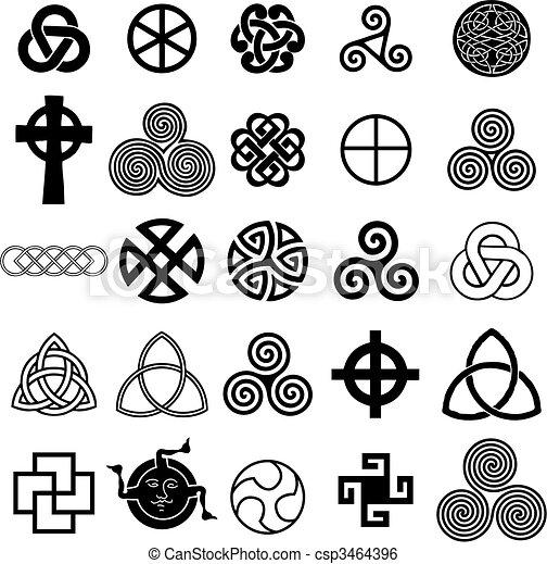 Set of Celtic symbols icons vector. - csp3464396