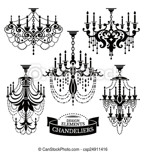 Set of chandelier silhouettes - csp24911416