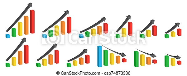 Set of Charts with arrow up - vector. - csp74873336