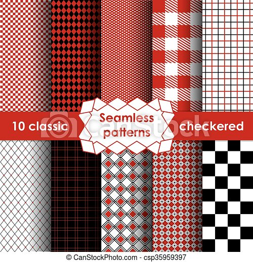 Set of checkered simple fabric seamless pattern  - csp35959397