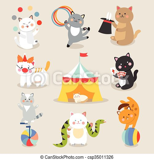 Set of cheerful circus playing cats  illustration.  - csp35011326
