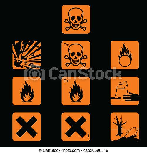 Set Of Chemicals Hazard Symbols Vector Vector Clip Art Search