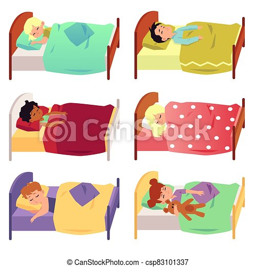 Set of children sleeping in bed under blanket flat vector illustration isolated. - csp83101337