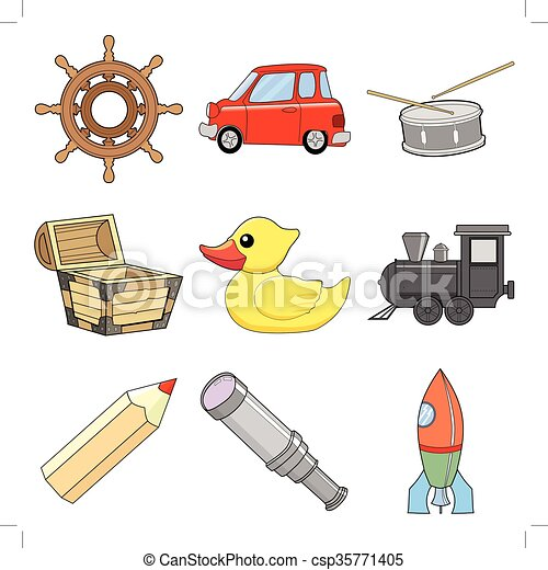 set of children toys, vector illustrations - csp35771405