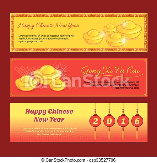 set of chinese new year banner design with gong xi fa cai greeting word