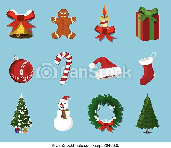 Set of  Christmas 12 label, XMas icon. Cartoon style. Vector Illustration for Christmas day - csp52046680
