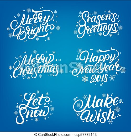 set of christmas and new year 2018 quotes hand written lettering