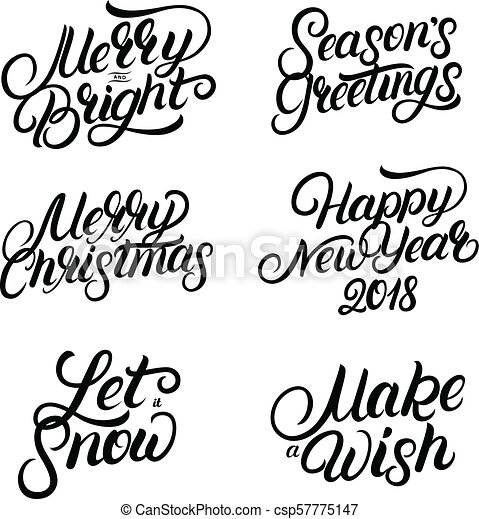 Set of christmas and new year 2018 hand written lettering quotes ...