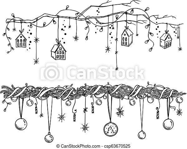 Christmas Garland Drawing.Set Of Christmas And New Year Decorations Garlands And Lights Vector Drawing
