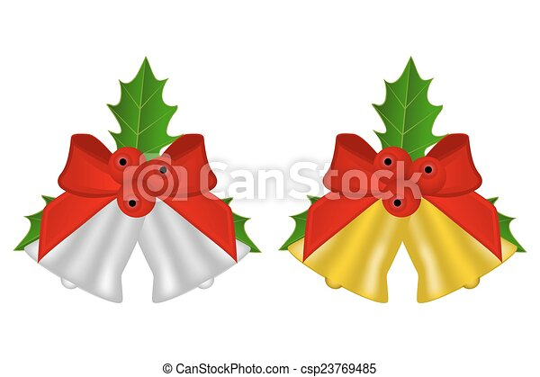 set of Christmas bells with holly - csp23769485
