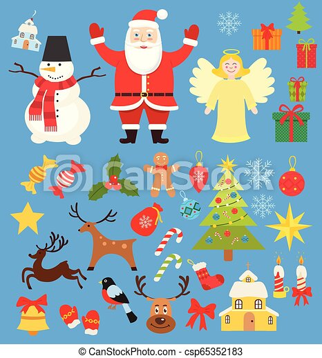 Set of Christmas characters and elements icons, santa and snowman and deer  in cartoon flat style