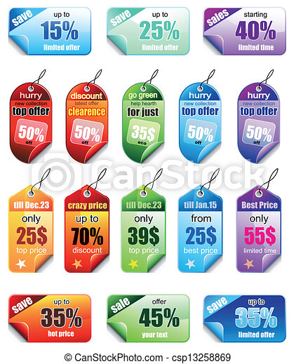 Set of Christmas Colorful Promotional sales price labels - csp13258869