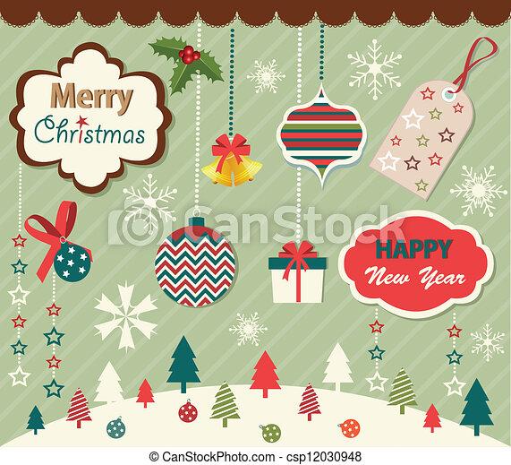 Set of Christmas elements - csp12030948