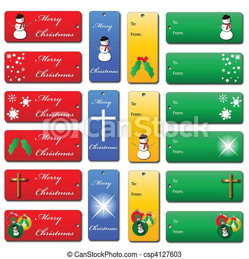 Set of Christmas Gift Tags - csp4127603