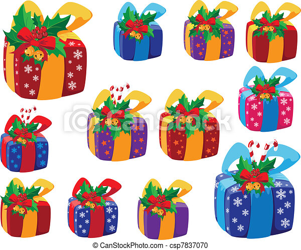 set of Christmas gifts box - csp7837070