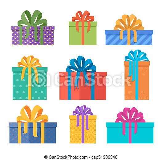 Set Of Christmas Gifts Boxes In Holiday Packages With Colored Bowknots Presents Designed