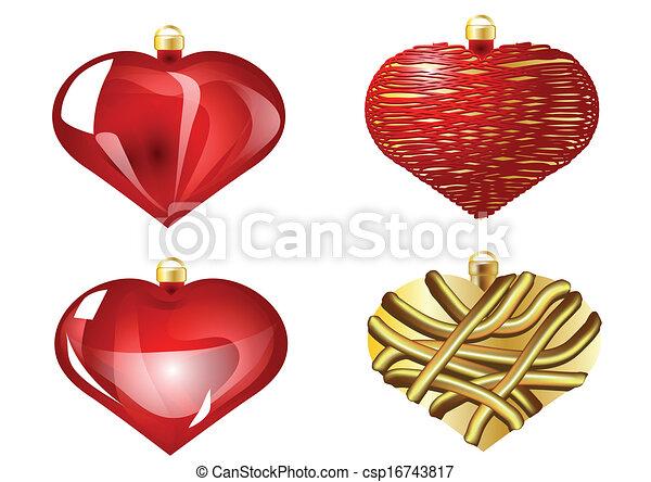 Christmas Heart Vector.Set Of Christmas Heart