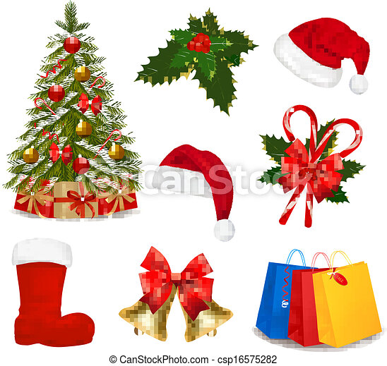 Set of Christmas icons. Vector illustration. - csp16575282