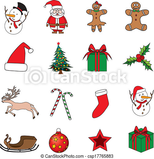 Set of Christmas icons vector illustration. - csp17765883