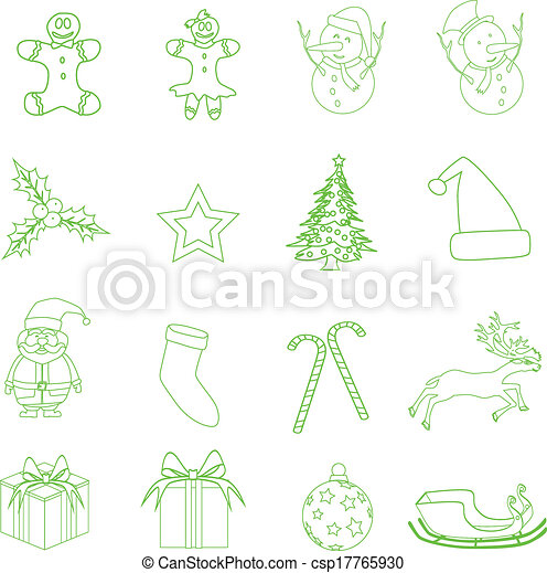 Set of Christmas icons vector illustration. - csp17765930