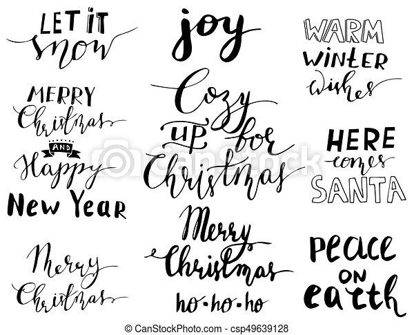 Christmas Lettering.Set Of Christmas Lettering Handwritten